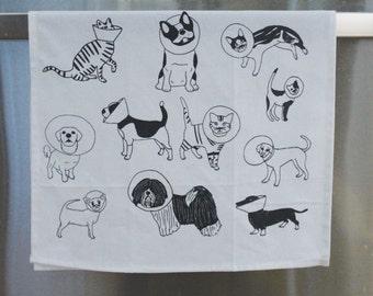 Veterinarian Gift / Dog Tea Towel / Tea Towels / Tea Towel / Veterinarian / Dogs / Cats / Cat with Cone / Dog with Cone