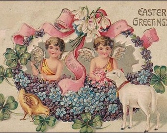Easter postcard - Easter Greetings  Angels, chick  and lamb  - Vintage Embossed Post Card vintage postcard, SharonFosterVintage