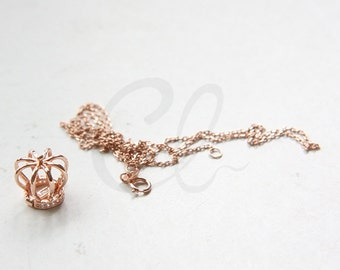 One Piece Rose Gold Plated on S925 Sterling Silver Necklace Chain with Crown Pendant - Opens - Locket (RG36)