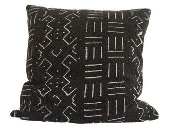 Vintage African Black Mudcloth Pillow   LARSON
