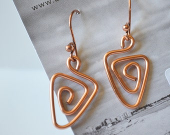 Copper Wire Triangle Swirl Earrings-Birthday gift-Wire earrings-Light weight wire jewelry