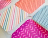 Gift Tags (Set of 6), Mini cards, stripes, dots, chevron, gift enclosures, paper and party supplies, blue, pink, lunchbox notes, stationery
