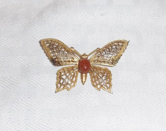 1970s Vintage Butterfly Brooch Gold Tone Open Work with Faux Goldstone