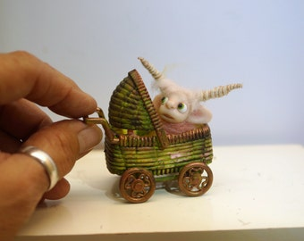 ooak poseable new born baby bug fairy in a buggy   ( # 9 ) polymer clay art doll by DinkyDarlings elf pixie faery