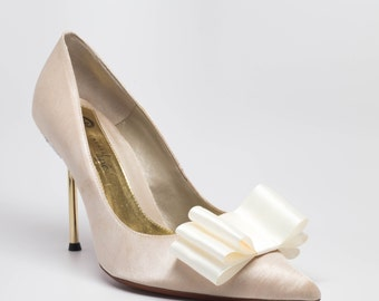Ivory Satin Ribbon Bow Shoe Clips Set Of Two, More Colors Available