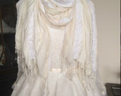 Ivory and cream lace scarf, vintage and contemporary lace shawl pashmina wrap