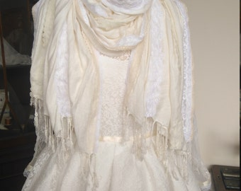 Custom made Ivory and cream lace scarf, vintage and contemporary lace shawl pashmina wrap