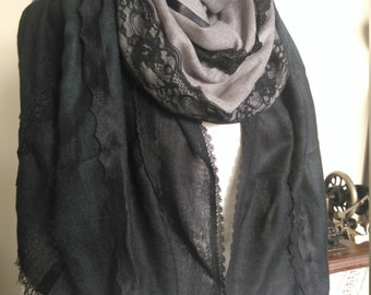 Custom made black and grey pashmina shawl wrap with vintage and contemporary lace