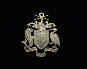 BARBADOS - SILVER - 1973 - Cut Coin Pendant - Coat of Arms - One Of A Kind!!