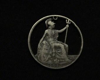 Great Britain - cut coin pendant - Seated Britannia - 1913