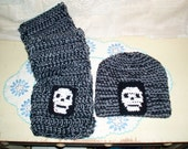 Crochet Black and Gray Skull Scarf and Hat set