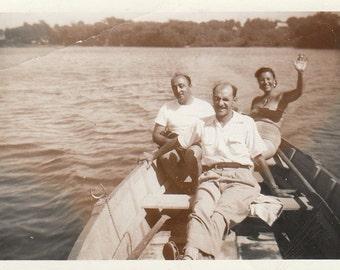 Original Vintage Photograph Snapshot Men Waving Woman in Row Boat 1940s-50s