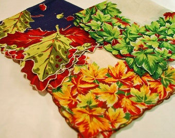 Vintage Seasonal Leaves Handkerchiefs - Set of 3