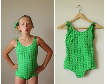 NOS, 1960s Key Lime Swimsuit>>> Girls Size 8/10