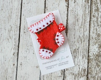 SALE Red Christmas Stocking Felt Hair Clip - Christmas Winter Holiday Hair Bow - Felt Hair Accessory Girls - Christmas Clippies and Hairbows