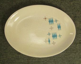 STARBURST RETRO PLATTER Porcelain Ceramic  app 10  x7 in oval Mint condition never used