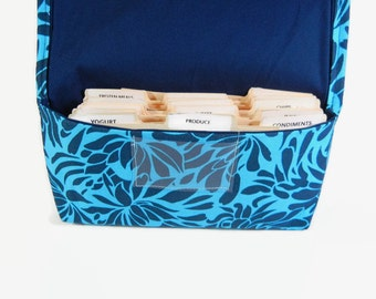 Coupon Holder Organizer  Blue Hawaiian Floral Fabric
