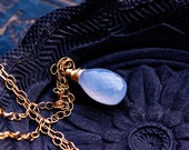 Chalcedony Necklace, Gemstone Necklace, Gold Necklace, Lilac, Pale Purple, Pastel, Gemstone Jewelry, Gold Jewelry, PoleStar, Lavendar