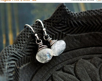 ON SALE Drop Earrings, Moonstone Earrings, Moonstone Jewelry, Rainbow Moonstone, Dangle Earrings, Sterling Silver, White Gemstone, PoleStar