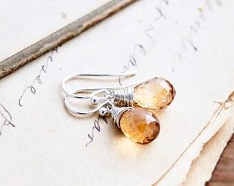 Drop Earrings, Quartz Earrings, Wire Wrapped, Sterling Silver, Citrine Yellow, August Birthstone, Birthstone Earrings, Mystic Quartz