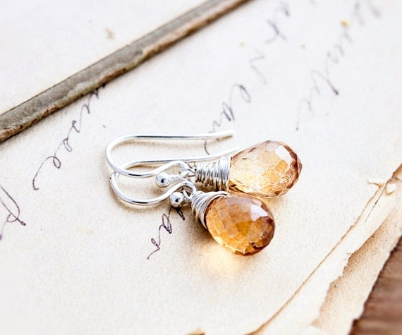 Drop Earrings, Quartz Earrings, Wire Wrapped, Sterling Silver, Citrine Yellow, August Birthstone, Birthstone Earrings, Mystic Quartz