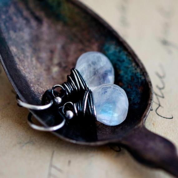 Dangle Earrings, Crystal Earrings, Drop Earrings, Moonstone Earrings, Wire Wrapped, Sterling Silver, Rainbow Moonstone, PoleStar, Crystal