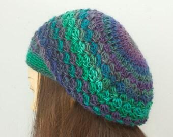 Crochet Beret, Custom Crochet Hat Chose Colors, Vegan Winter Slouchy Hat