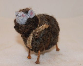 Sheep LittleGray Sheep Prim Needle Felted Sheep #1504