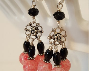 Onyx and Vintage Japanese Spotted Glass Beads Earrings