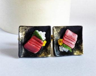Tuna Maguro Sashimi Cufflinks - Sushi Cufflinks - Miniature Food Jewelry Collectable - Schickie Mickie Original 100% Handmade