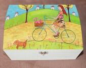 Girl on Bike Large Jewelry Box, Wooden Jewelry Box, Trinket Box