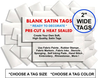 "2"" WIDE BLANK Tags - Pre-cut & Heat Sealed - Ready to Decorate DIY - for bows , clothing , scrapbook , crafts , cards , invites , and more"