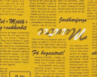 Kokka Lighthearted Mustard Newsprint Japanese Import Sheeting - Half Yard