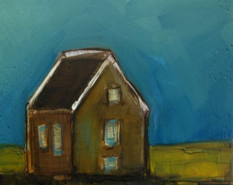OLD FARM HOUSE Abstract  Landscape -   Abstract Giclee print from my original oil painting -  Art