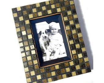 Checkered Brown Tan Mosaic Frame, Chunky Wood and Mosaic Frame, Glass Tile Mosaic Frame, 3 x 5 Frame, Brown Beige Mosaic Picture Frame