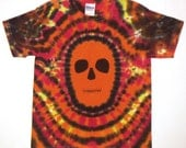 Tie Dye Shirt, Zombie Tie Dye T Shirt, Day of the Dead Tie Dye Shirt, Youth Small