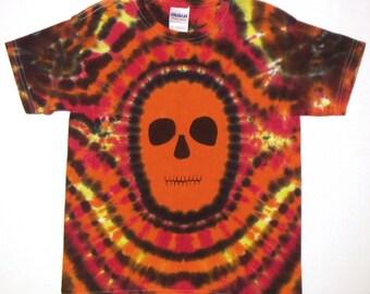 Tie Dye Shirt, Zombie Tie Dye T Shirt, Day of the Dead Tie Dye Shirt, Youth Small