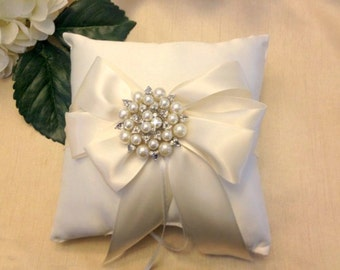 Ivory Ring Bearer Pillow - Ring Pillow - Pearl Ring Pillow - Ring Cushion - Ringbearer Pillow - Bridal Pillow  - 30 Colors Available