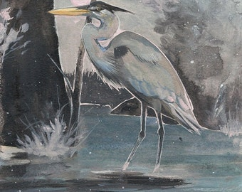 "Great Blue Heron - bird art print, 6"" x 6""."