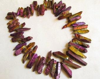 Summer Sale Titanium Magenta Gold Bronze Rainbow  Top drill Crystal Druzy Pencil Point Briolette Beads 1/2 Of 16 inch Strand