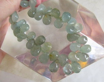 OUT Of Town SALE Natural Aquamarine Briolette Beads  9mm To 12mm, 9 Inches,Untreated Moss Aquamarine Gemstone