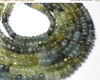 25% Off SALE Moss Aquamarine Beads , 6mm  Rondelle , Aquamarine Bead,  Speckles Full Strand, Natural Aquamarine, Rondelle Bead,