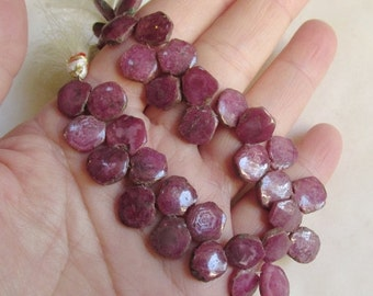 25% Off SALE Natural Pink Sapphire Slice Briolette Beads, 1/2 Strand, 9mm 10mm pink sapphire