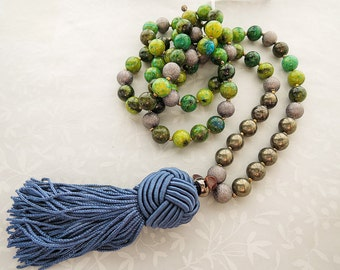 Long Tasssel, Pendant Necklace, Jasper Beads, Pyrite and Gunmetal- 36""