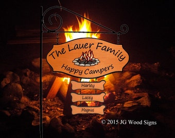 Family Name Sign Campfire Graphic with 3 Dogbones and Sign Holder - Personalized RV Camping Sign - JGWoodSigns - Etsy