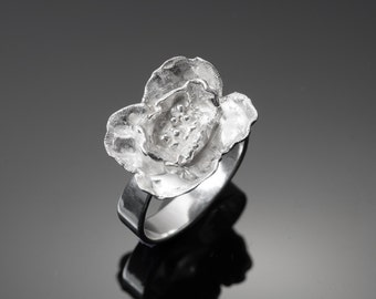 Hand-engraved Sterling Silver Poppy Ring