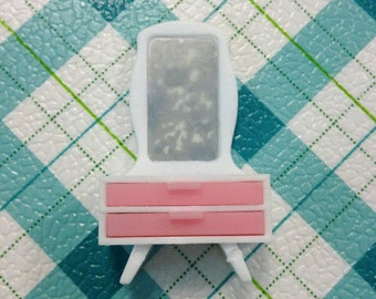 Vintage Japan Glico Lotte Licca Miniature Dollhouse Pink N White Dresser with Drawer and Mirror