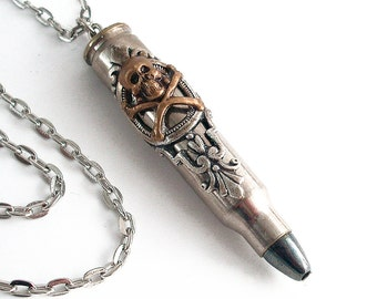 Black Death - Silver Bullet Skull Pendant Necklace Jewelry