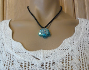 Handmade Pendant, Pendant on Cord Necklace, Azure Blue Crystal Necklace, Holiday Gift