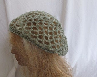 SALE - Sage and Cream Lacey Slouchy Beret/Tam/Dreadlock Hat (5265)